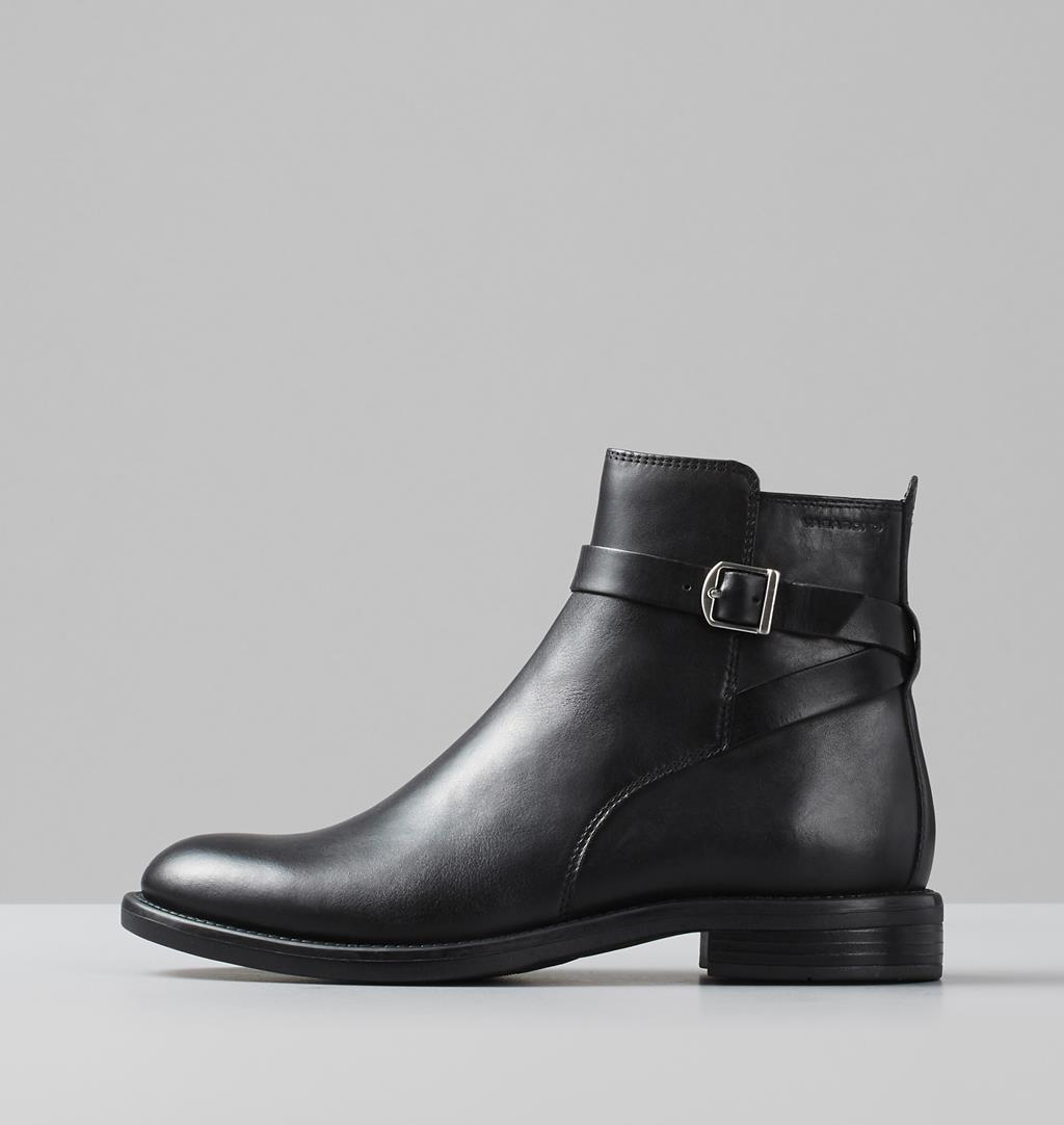 Amina Black Leather Ankle Booties