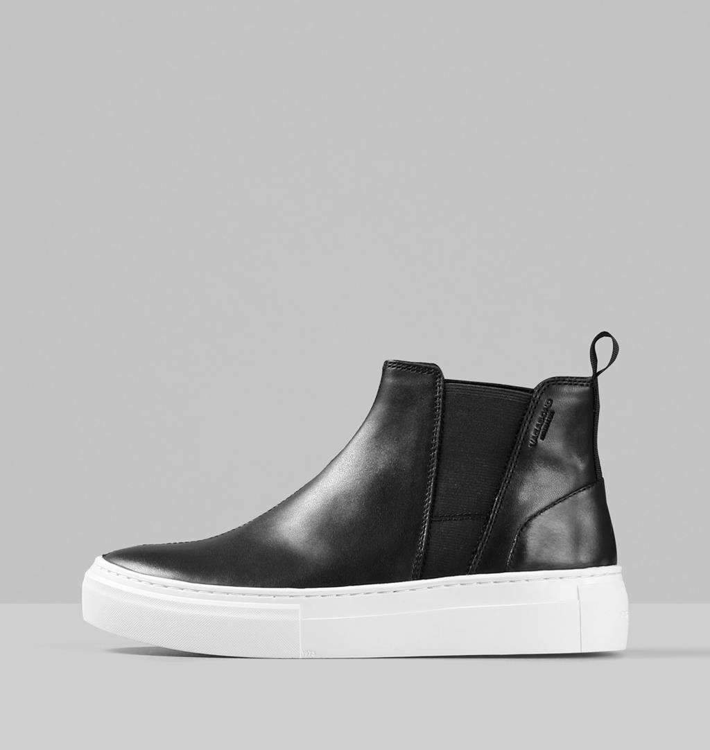Zoe platform Leather Boots - Black