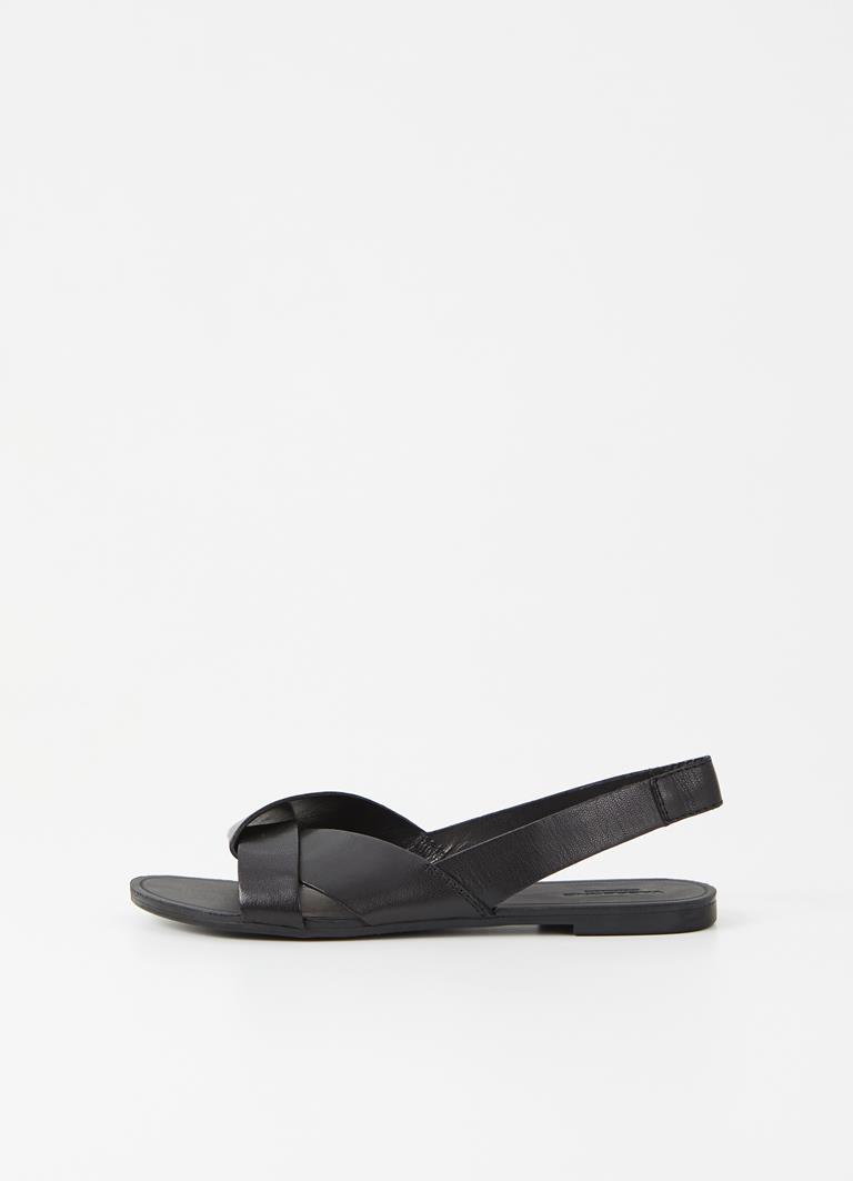 Tia Black Goat Leather Sandals