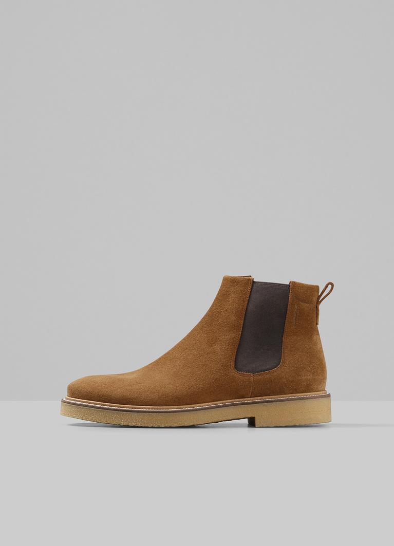 Gary Cognac Cow Suede Boots