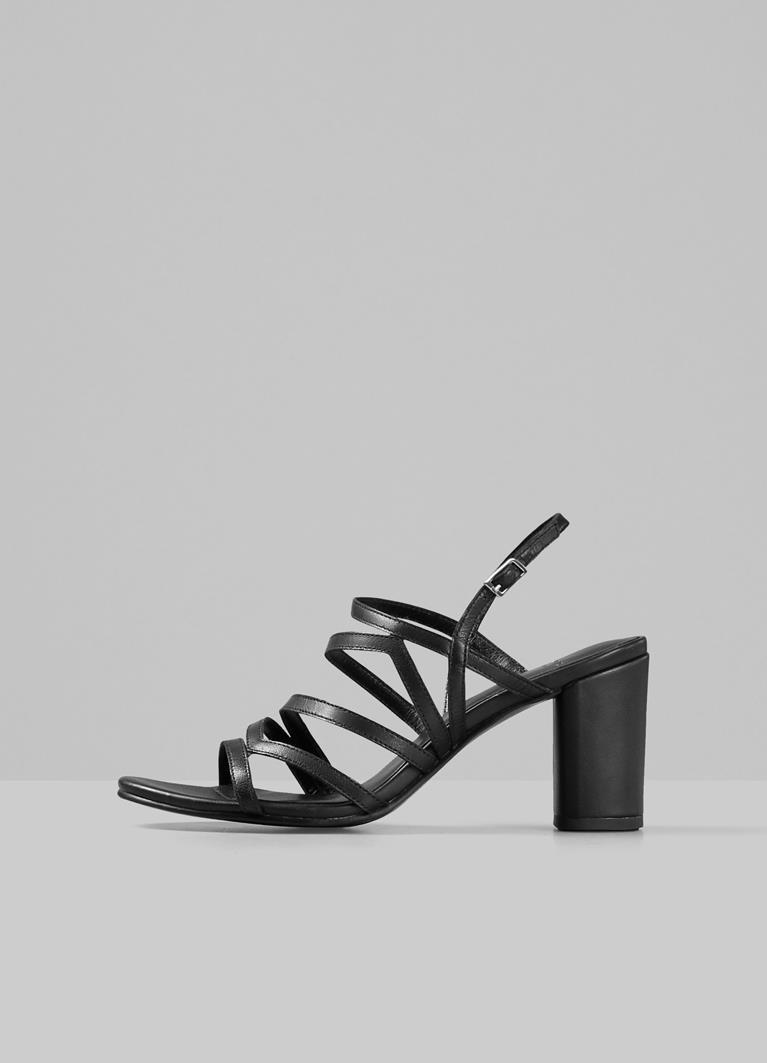 Penny Black Goat Leather Sandals