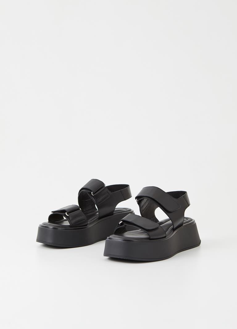 Courtney Black/Black Cow Leather Sandals