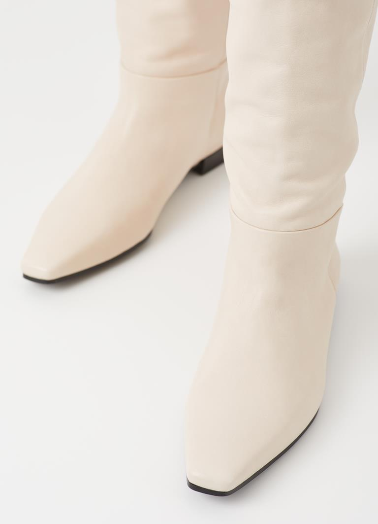 Lene Off White Cow Leather Boots