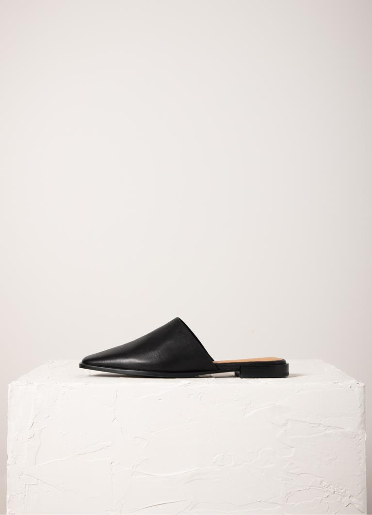 Gina Black Cow Leather Mules