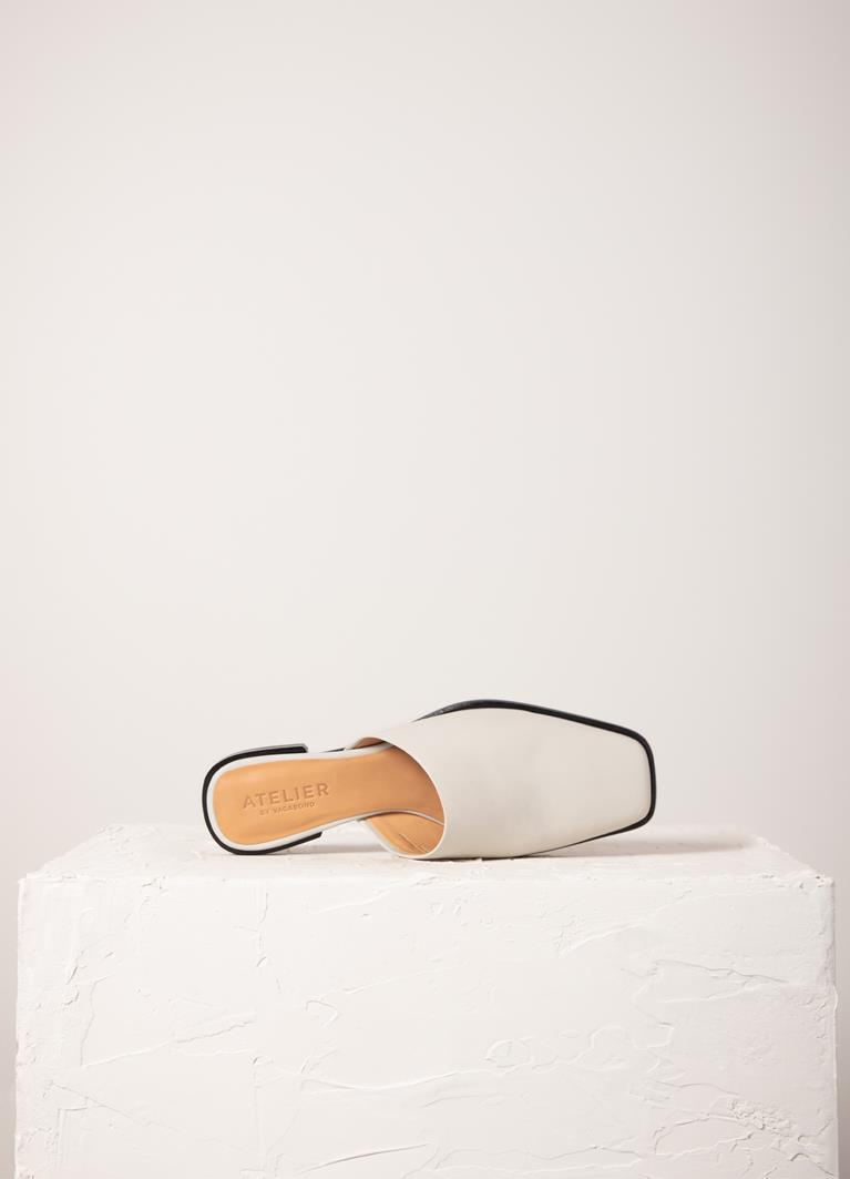 Gina Off White Cow Leather Mules