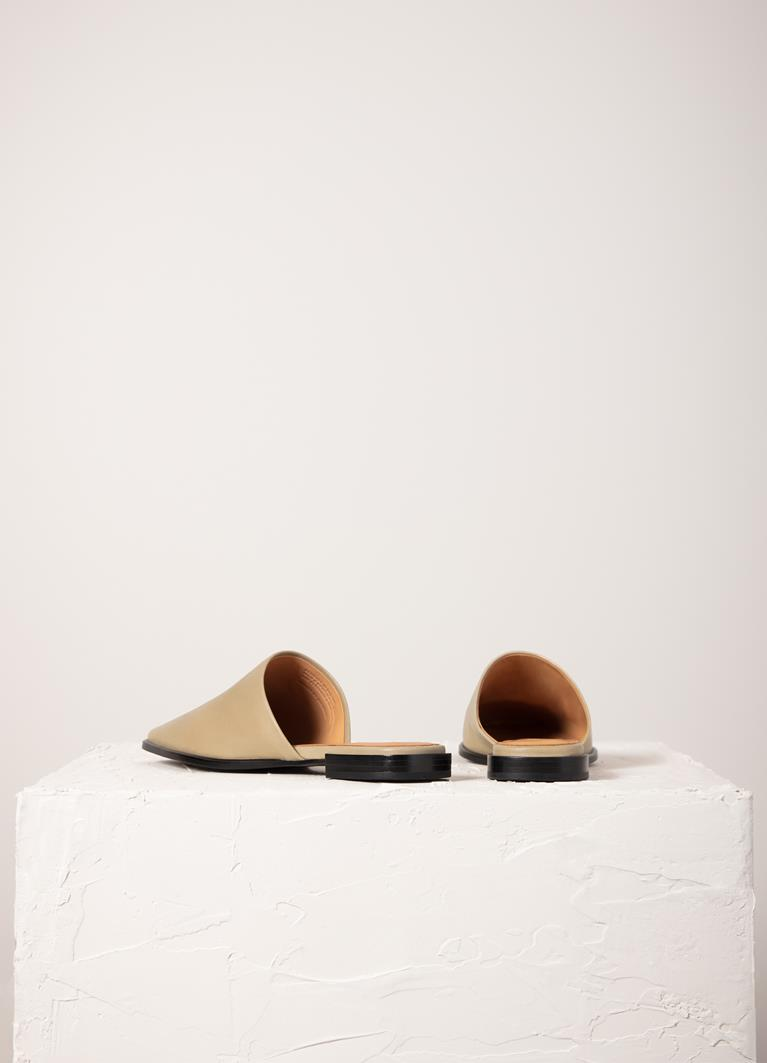 Gina Sesame Cow Leather Mules