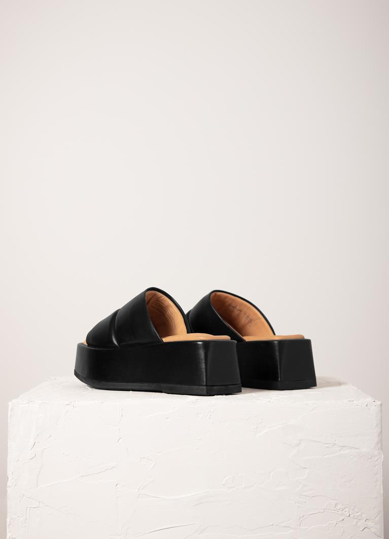 Juno Black Cow Leather Sandals