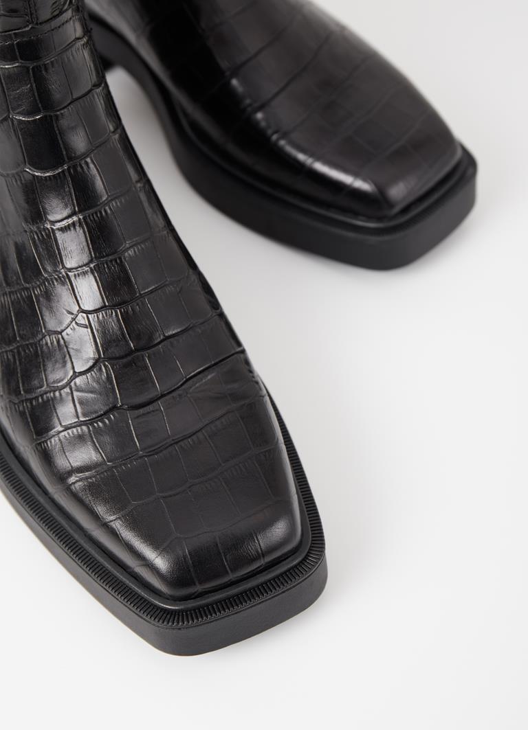 Jillian Black Cow Leather Boots