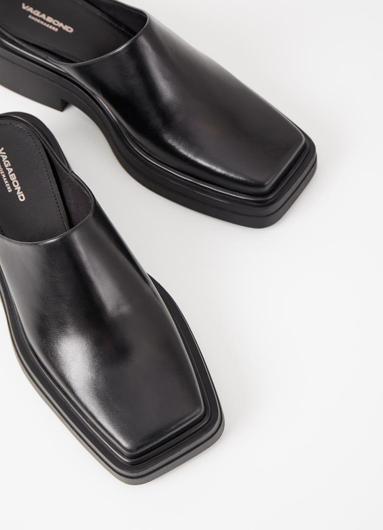 Eyra Black Cow Leather Mules